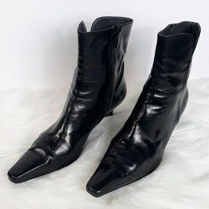 Stuart Weitzman Black Leather Square Toe Boots